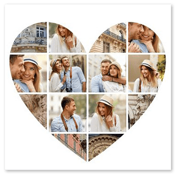 Collage photo forme de coeur de près
