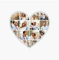 Collage photos en forme de coeur