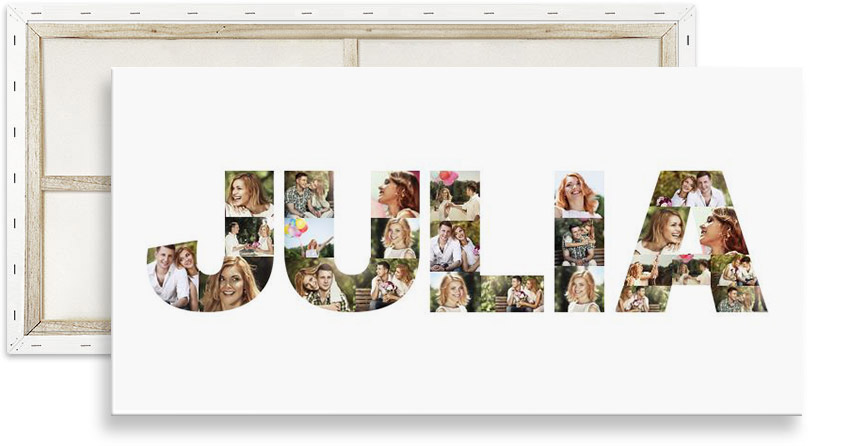 Collage photo prénom imprimé sur toile